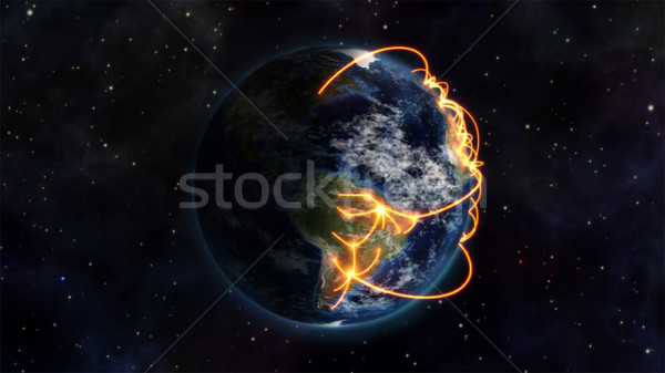 An illustration of the world being virtually connected with an Earth image courtesy of Nasa.org Stock photo © wavebreak_media