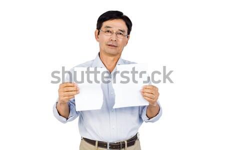 Stock fotó: üzletasszony · mindkettő · remek · fehér · kéz · mosoly