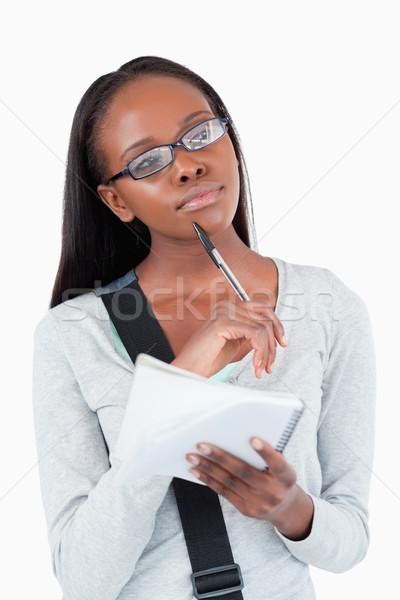 若い女性 帳 眼鏡 感想 白 図書 ストックフォト © wavebreak_media