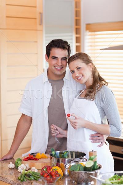 Refeição juntos feliz casal saúde Foto stock © wavebreak_media