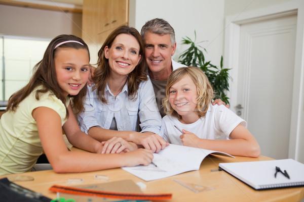Család házi feladat együtt könyv gyermek diák Stock fotó © wavebreak_media