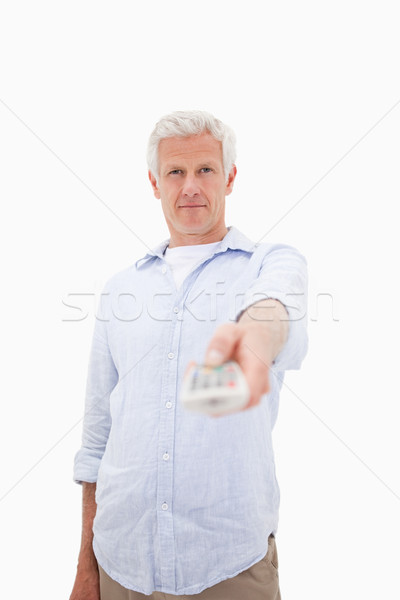 Portret dojrzały mężczyzna kanał biały twarz telewizji Zdjęcia stock © wavebreak_media