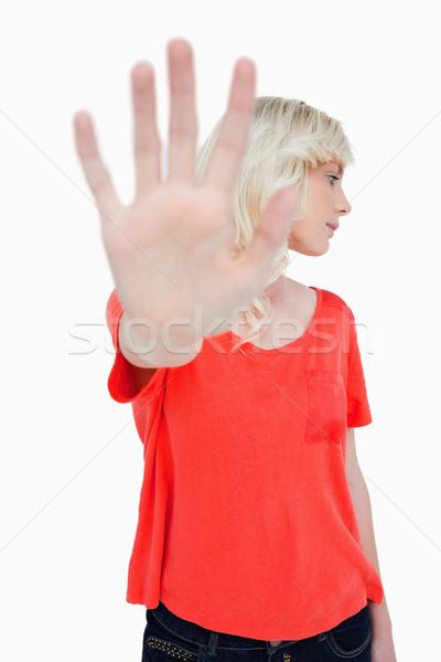 女性 脱出 一時停止の標識 手 ストックフォト © wavebreak_media