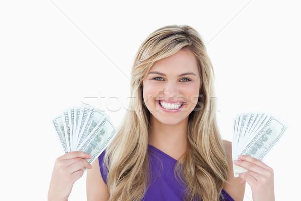 Feliz mujer rubia dos aficionados notas Foto stock © wavebreak_media