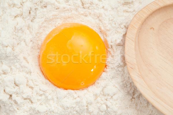 Tojás tojássárgája liszt magasról fotózva kilátás étel Stock fotó © wavebreak_media
