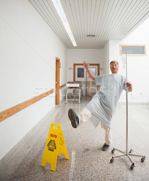 Stock fotó: Beteg · cédula · nedves · padló · kórház · folyosó