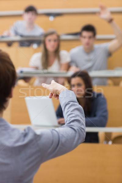 öğretmen işaret adam ders salon bilgisayar Stok fotoğraf © wavebreak_media