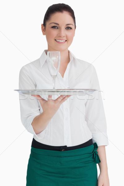 Sorridere cameriera argento vassoio vuota Foto d'archivio © wavebreak_media