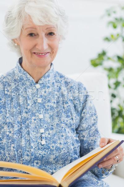 Yaşlı gülümseyen kadın kanepe ev oturma odası Stok fotoğraf © wavebreak_media