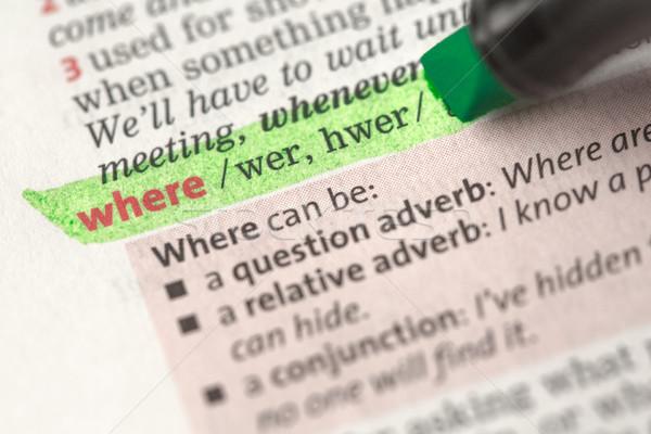 Dizionario verde nero questione informazioni concetto Foto d'archivio © wavebreak_media