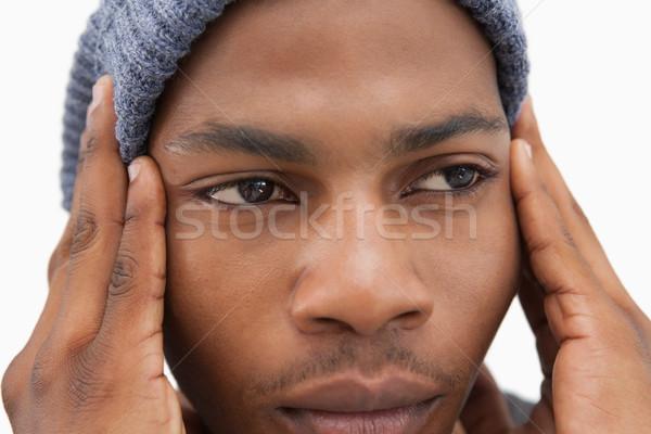 Hombre sombrero mirando infeliz blanco masculina Foto stock © wavebreak_media