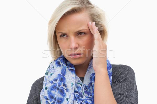 блондинка шарф белый мышления Сток-фото © wavebreak_media