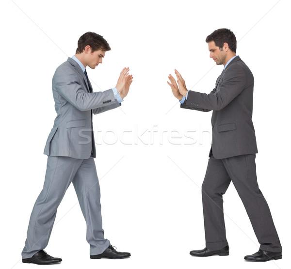 Business partner spingendo copia spazio guardando verso il basso bianco uomo Foto d'archivio © wavebreak_media