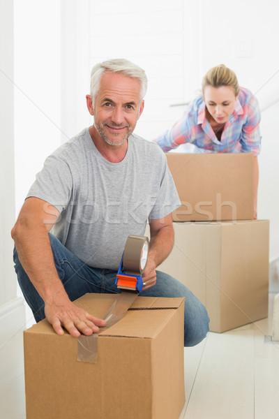 Stockfoto: Gelukkig · paar · karton · oude · home