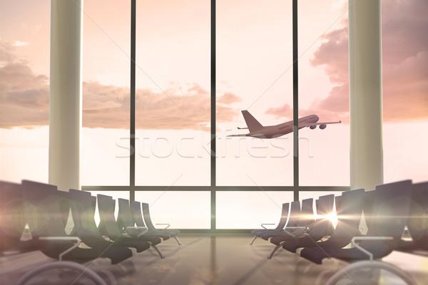 самолет Flying прошлое Отправление Lounge окна Сток-фото © wavebreak_media