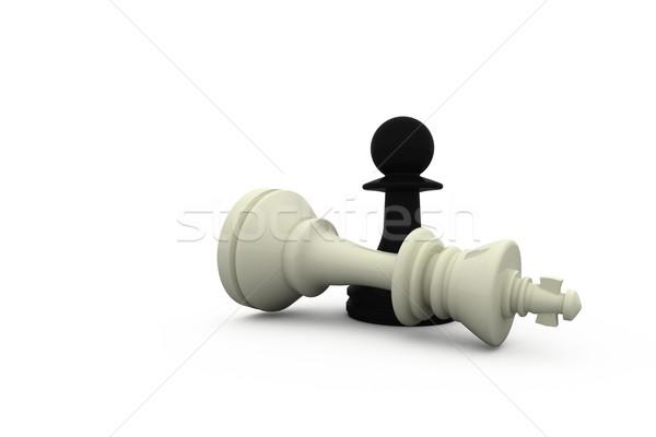 Foto stock: Negro · peón · blanco · rey · ajedrez · victoria