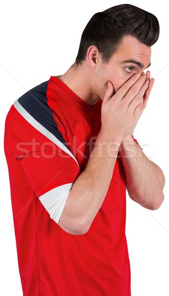 Ideges futball ventillátor néz előre fehér Stock fotó © wavebreak_media