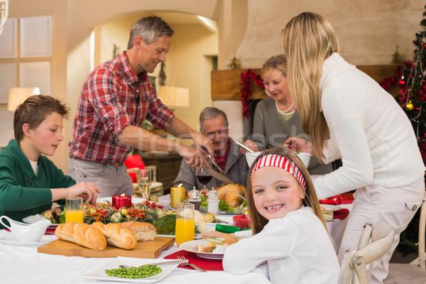 Tre generazione famiglia Natale cena insieme Foto d'archivio © wavebreak_media