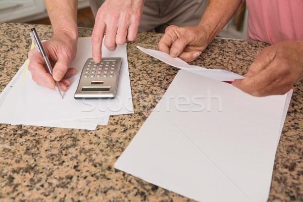 Betalen home keuken vrouw Stockfoto © wavebreak_media