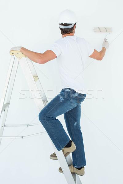 Homem escada pintura segurança masculino Foto stock © wavebreak_media