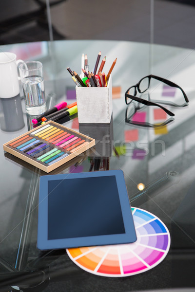 Stock photo: Colour samples and digitizer on desk