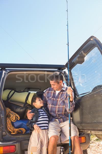 Vader zoon vissen reis man gelukkig Stockfoto © wavebreak_media
