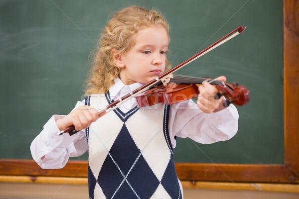 Aranyos játszik hegedű általános iskola iskola gyermek Stock fotó © wavebreak_media