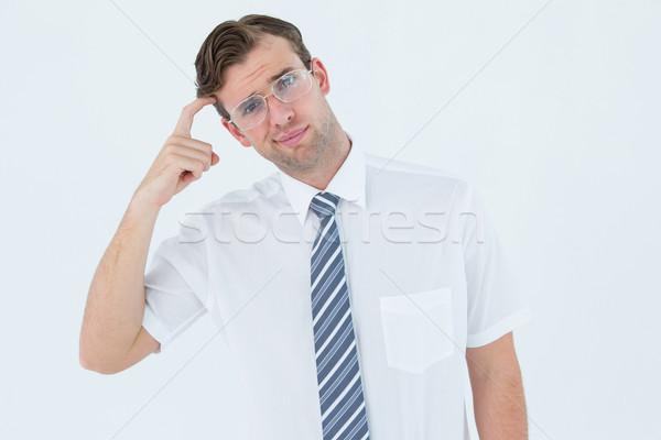 Zdjęcia stock: Biznesmen · myślenia · palec · świątyni · biały · działalności