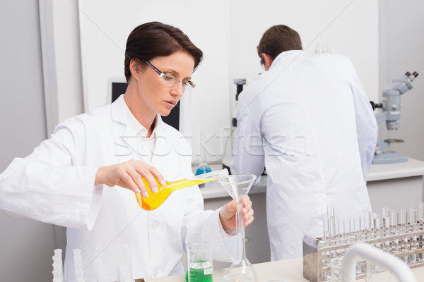 Scientists working attentively with test tube and computer Stock photo © wavebreak_media