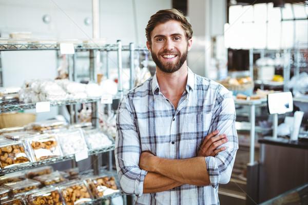 Pincér mosolyog pékség kéz mosoly boldog Stock fotó © wavebreak_media