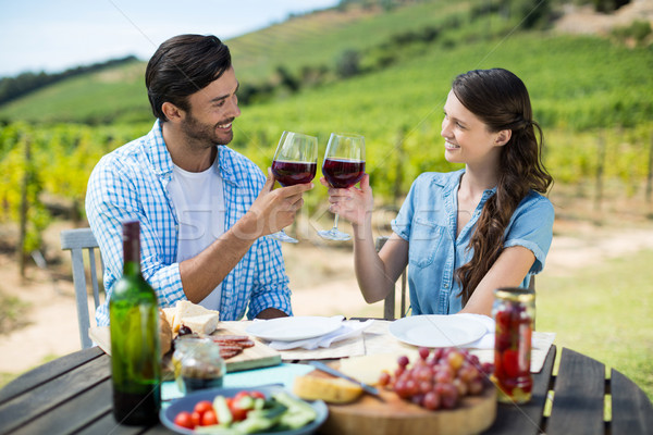 Smiling couple toasting red wine glasses while sitting at table Stock photo © wavebreak_media