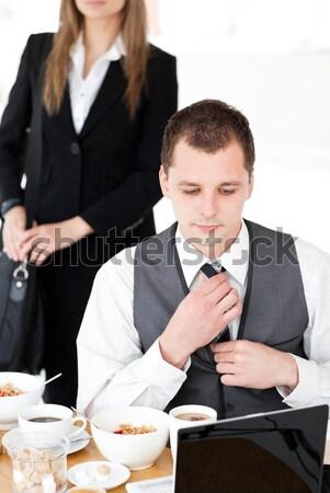 Dijital tablet karşı restoran kadın sevmek Stok fotoğraf © wavebreak_media