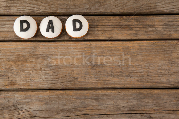 Circle cookies with black dad text on table Stock photo © wavebreak_media