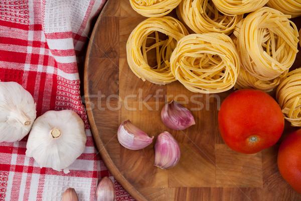 Crudo ajo cebollas servilleta tela primer plano Foto stock © wavebreak_media