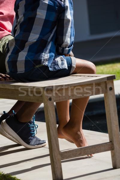 Baba oğul oturma bank Internet Stok fotoğraf © wavebreak_media