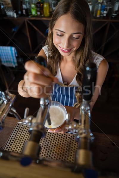 красивой пива водопроводной стекла ресторан Сток-фото © wavebreak_media