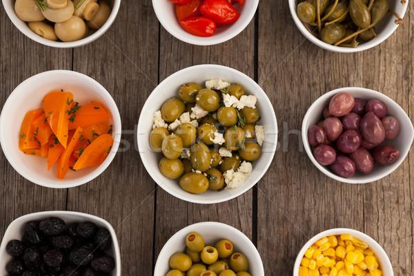 Vue alimentaire bol table en bois fruits Photo stock © wavebreak_media