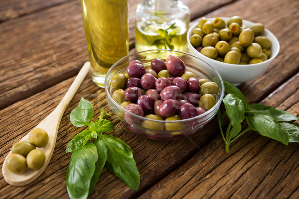 Marynowane oliwek składniki drewniany stół żywności owoców Zdjęcia stock © wavebreak_media