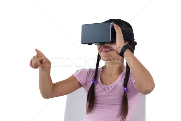 Meisje virtueel realiteit hoofdtelefoon glimlachend kind Stockfoto © wavebreak_media