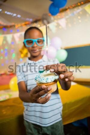 Cute мальчика бенгальский огонь празднование дня рождения Сток-фото © wavebreak_media