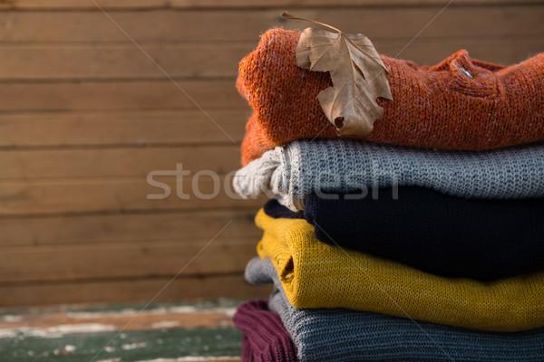 Maglione tavola muro foglia pattern Foto d'archivio © wavebreak_media