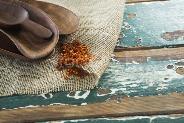 Különböző fából készült merítőkanál asztal fa főzés Stock fotó © wavebreak_media