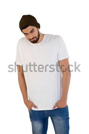Сток-фото: человека · позируют · белый · красивый · мужчина · джинсов · связи