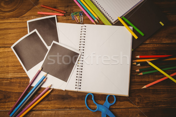 School supplies on desk with copy space Stock photo © wavebreak_media