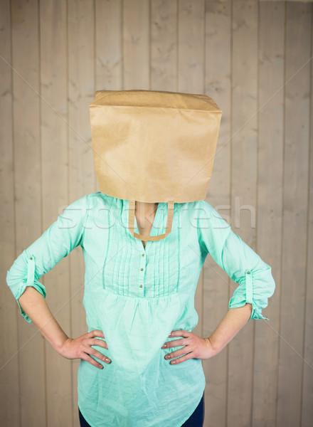 Nő kezek csípő fej barna papír táska Stock fotó © wavebreak_media