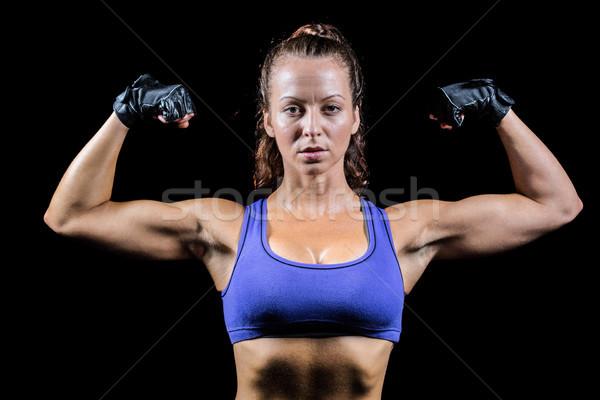 портрет женщину перчатки мышцы черный фитнес Сток-фото © wavebreak_media
