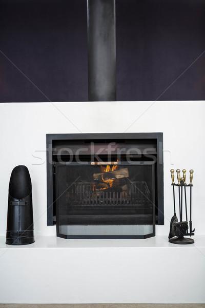 Ver lareira sala de estar fogo casa tabela Foto stock © wavebreak_media
