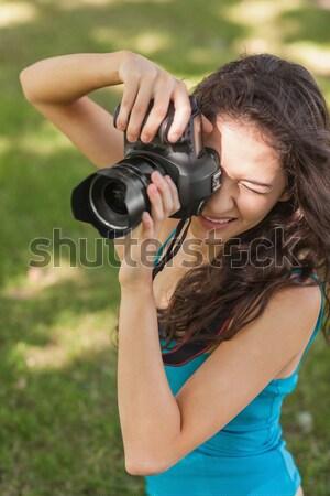 девочку рюкзак dslr камеры стороны Сток-фото © wavebreak_media