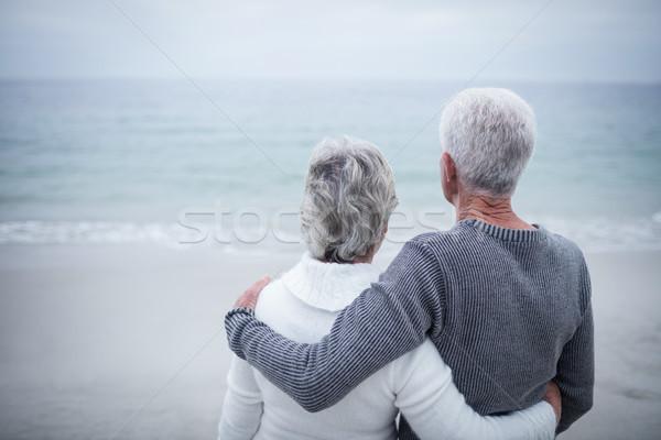 Hátsó nézet idős pár átkarol tengerpart napos idő nő Stock fotó © wavebreak_media