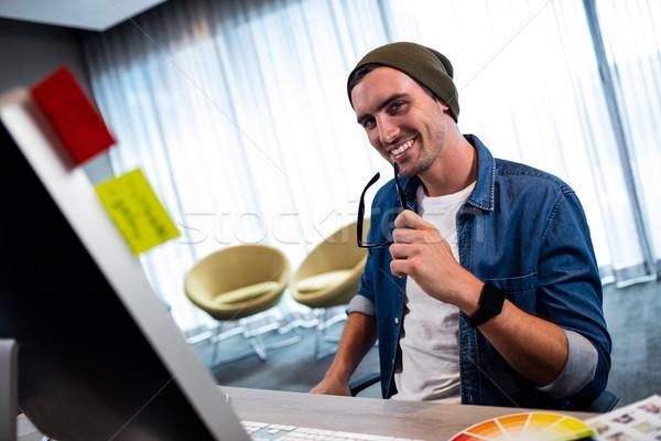 человека очки рабочих компьютер Сток-фото © wavebreak_media
